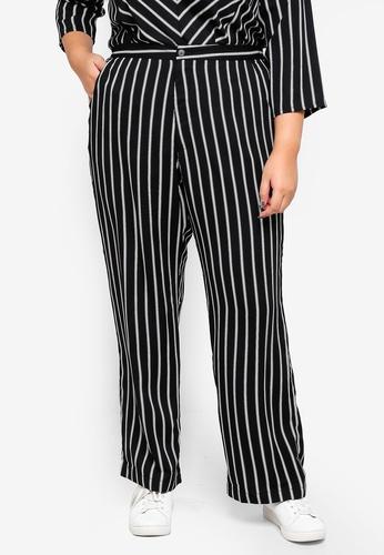 Ex'otico black Plus Size Striped Trousers 6560BAA746CE31GS_1