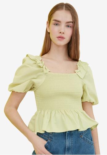 Trendyol yellow Shirred Ruffle Puff Sleeve Top 2F106AA63214E1GS_1