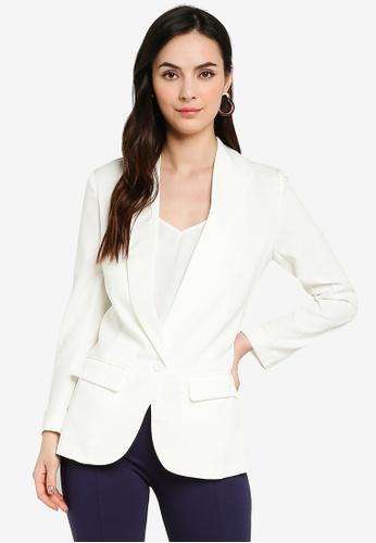 ZALORA WORK white Longline Blazer 48BE5AAE3FE630GS_1