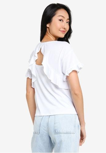 ZALORA BASICS white Ruffle Detail T-Shirt F000BAAB9FB49DGS_1