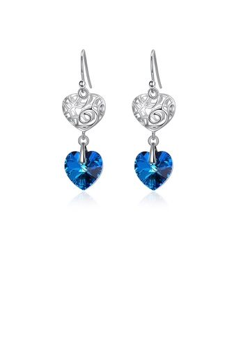 Glamorousky blue 925 Sterling Silver Elegant Vintage Heart Openwork Earrings with Blue Austrian Element Crystal 6A82EACA23267BGS_1