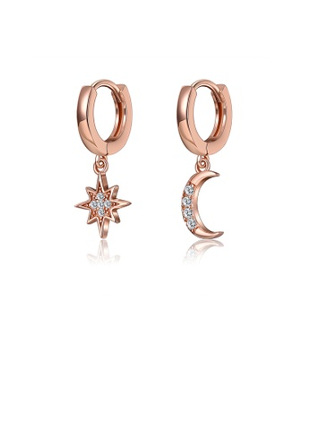 Glamorousky white 925 Sterling Silver Plated Rose Gold Simple Star Moon Asymmetric Earrings with Cubic Zircon 40E77ACAF5EA01GS_1