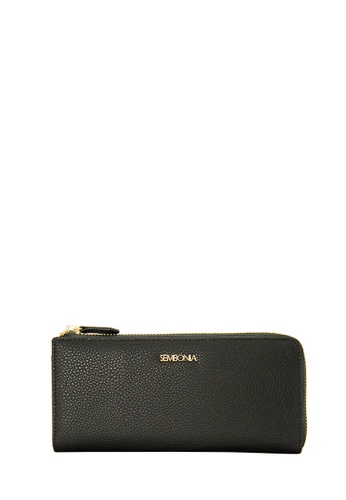 SEMBONIA black Microfiber Trimmed Leather Bi-Fold Continental Wallet 11E78ACE294784GS_1