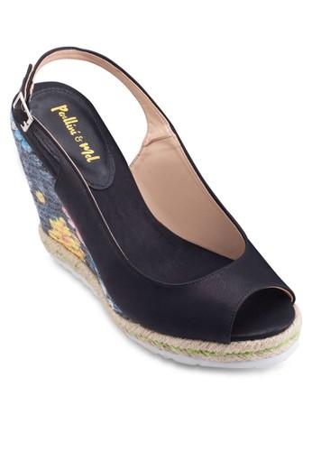 魚口露趾厚底楔型esprit香港門市跟涼鞋, 女鞋, 鞋