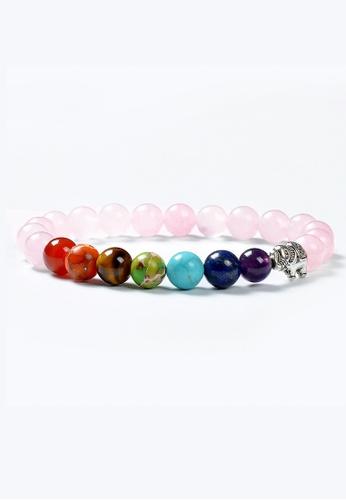 TIAS pink and multi Tias Elephant Rose Quartz Beaded Chakra Bracelet DB04FACEF90AEAGS_1