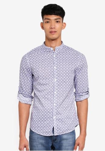 OVS blue and navy Printed Mandarin Collar Shirt 095B2AADC68D86GS_1
