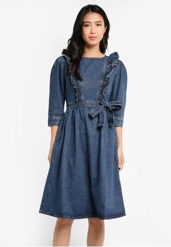 LOST INK blue Frill Shoulder Denim Dress LO238AA0T1RVMY_1
