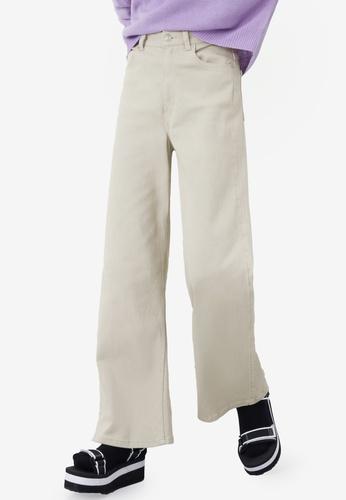 H&M beige Wide Twill Trousers 05003AADA862B2GS_1