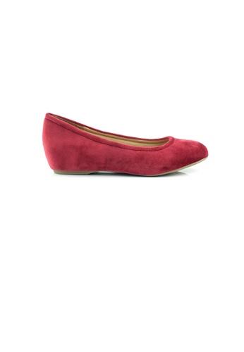 SHINE red Round Toe Hidden Heels Flats SH554SH0GVDZSG_1