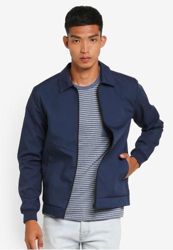!Solid 海軍藍色 休閒夾克外套 C72B6AA975579AGS_1