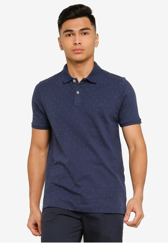 Springfield blue Essential Slim Fit All-Over Polo Shirt 29C5CAA3BEBE07GS_1