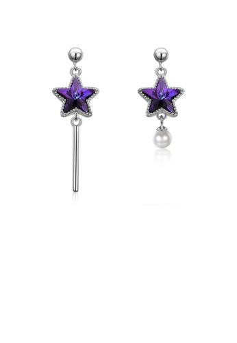 Glamorousky white 925 Sterling Silver Fashion Elegant Star Asymmetric Tassel Earrings with Pearl and Purple Austrian Element Crystal 421FDAC5721A56GS_1