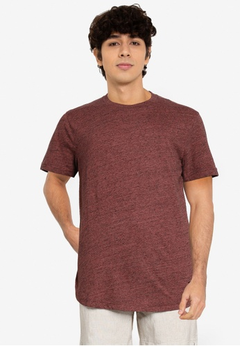 Abercrombie & Fitch red Curved Hem Solid T-Shirt 25773AA93D920AGS_1