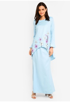 Buy Lubna Flared Sequin Sleeves Wrap Kurung Set Online on ZALORA ... 2d99b625a7