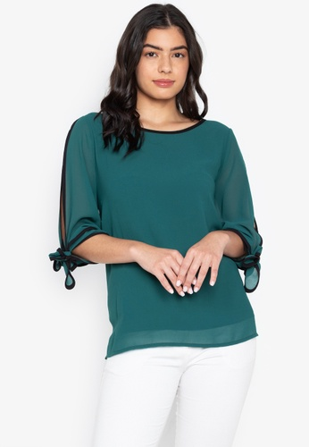 CIGNAL green Split Sleeve Blouse w/ Cuff Tie 3CAC9AA7E6FEBBGS_1