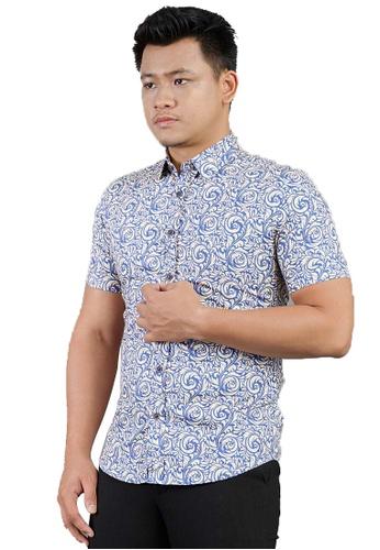 UA BOUTIQUE blue Short Sleeve Shirt Batik SSB115-043 (Blue/ Brown) A83A4AADECF0B8GS_1