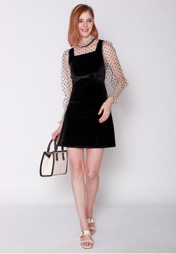 JOVET black and white Dotty Velvet Dress 88262AA6E9C194GS_1