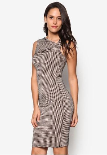 不對稱領口esprit門市地址點點及膝連身裙, 服飾, 洋裝