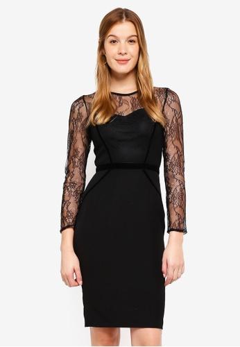 Dorothy Perkins black Black Lace Velvet Pencil Dress 6473EAA7A0E34CGS_1