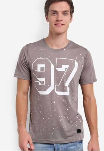 Flesh IMP brown Splattered No. 97 Graphic T-Shirt FL064AA66SAVMY_1