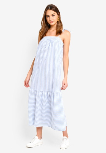 Cotton On white and blue Woven Arabella Tie Shoulder Maxi Dress 96F2AAA5E57D0DGS_1