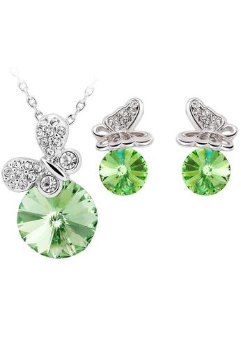 OUXI green OUXI Butterfly Necklace Earrings Set S-20155 (Peridot) OU821AC40WOHMY_1