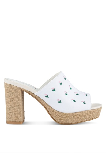 Something Borrowed white Fabric Platform Mules E9D5ASH600D4FBGS_1