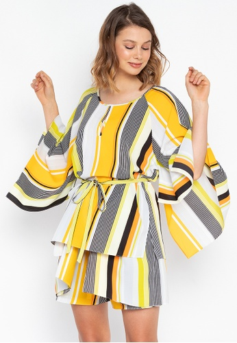 Josie yellow Stripes Kimono Top A660FAA5B48893GS_1