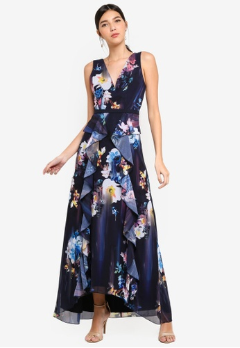 Little Mistress multi and navy Floral Blur Gown 16489AA374521CGS_1
