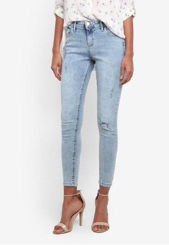 Dorothy Perkins blue Stone Wash Abrasion Darcy Ankle Grazer Jeans DO816AA0RP4SMY_1