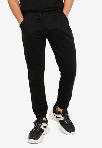 UniqTee black Solid Drawstring Sweatpants with Pockets 6E1FFAA9DCF82CGS_1