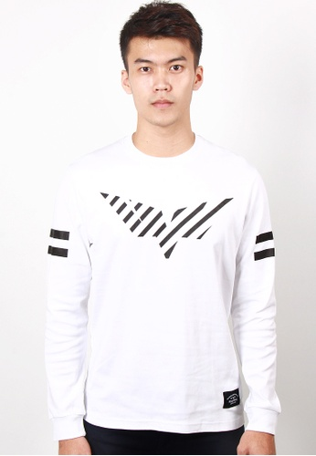 Neverwake white Striped Wing Long Sleeve Tee - White NE692AA04VNRMY_1
