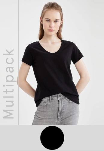 DeFacto black 2-pack Short Sleeve T-Shirt 79741AA3992172GS_1