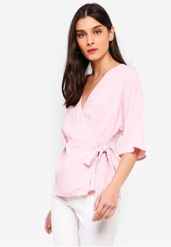 ZALORA pink Kimono Wrap Top 40EE2AA4F7EF18GS_1