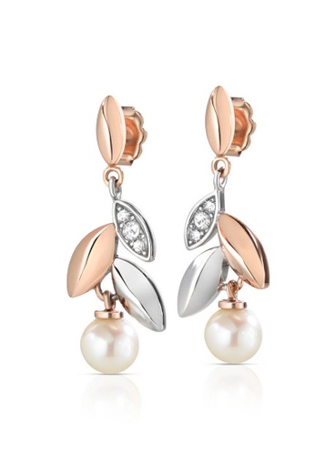 Morellato silver Gioia Earrings SAER13 Stainless Steel Crystals Pearls PVD Pink Gold 10DD9AC7BD2810GS_1