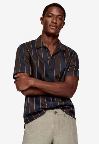 MANGO Man blue Regular-Fit Striped Linen Shirt FFCA4AADDE7AAFGS_1