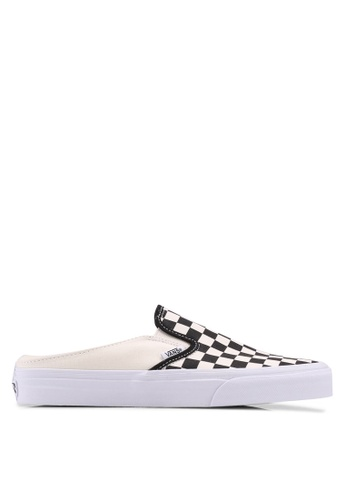 VANS black and white and multi Checkerboard Classic Slip On Mule VA142SH0SWTEMY_1