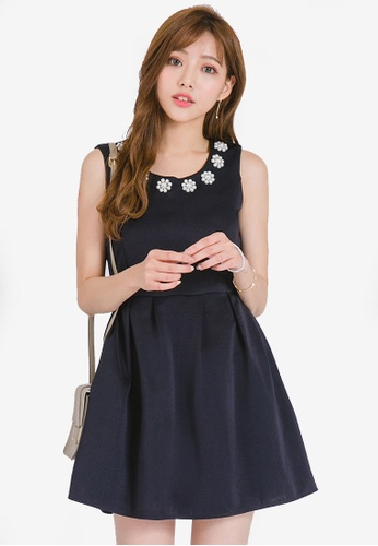 Yoco navy Embellished Neck Skater Dress D28FAAAE137460GS_1