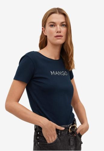 Mango blue Logo Organic Cotton T-Shirt 6A46CAACCD1B17GS_1