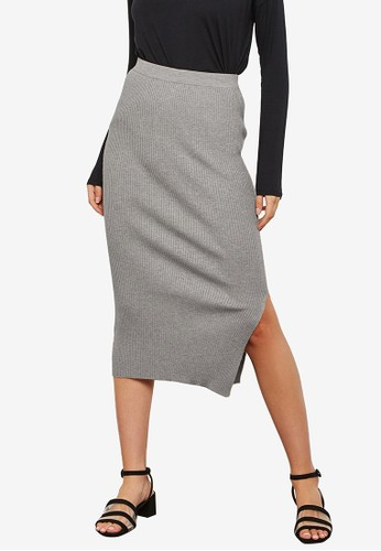 Mango grey Cable Knit Skirt 79CE2AA5224833GS_1
