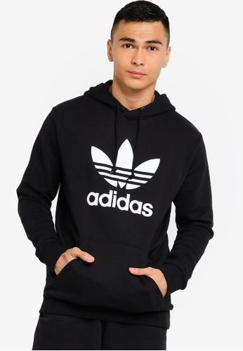 ADIDAS black adicolor classics trefoil hoodie B9E63AA480C95EGS_1