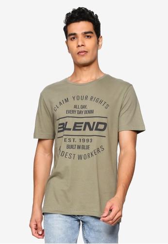 BLEND green Vintage Text Crew Neck T-Shirt DFAECAA2B6588CGS_1