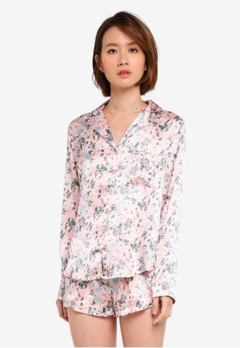 Dorothy Perkins pink Pink Floral Satin Revere Pyjama Set AC1D9AA30C8646GS_1
