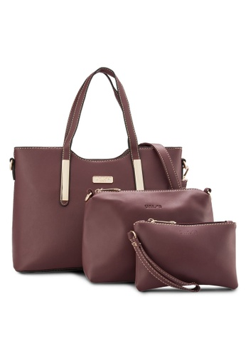 Unisa red Unisa Faux Leather Tote Bag Set Of 3 UN821AC04EETMY_1