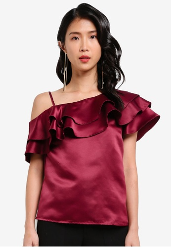 ZALORA red One Shoulder Top With Ruffle 7947CAA7F849E3GS_1