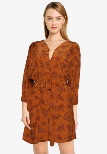 French Connection brown Isabeta Drape Dress 92B9EAA20B12FAGS_1