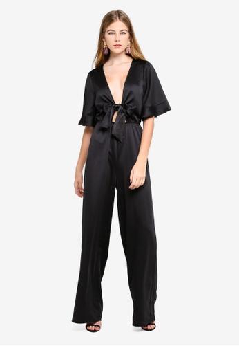 14bec1749449 MISSGUIDED black Satin Kimono Sleeve Wide Leg Jumpsuit 6C560AAF1FD267GS 1