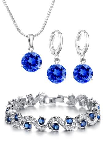 YOUNIQ blue YOUNIQ Elsa Silver Necklace Pendant, Earrings & Diamondate Blue CZ Platinum Plated Silver Bracelet Special Set 3B3ACACD561888GS_1