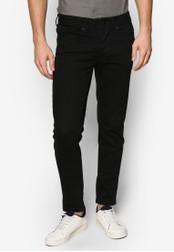 Burton Menswear London 黑色 簡約彈性窄管牛仔褲 BU964AA44BXNMY_1