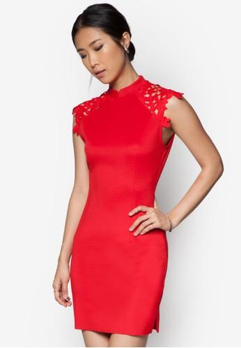 蕾絲鉤花拼肩洋裝, 服飾, 緊身zalora開箱洋裝